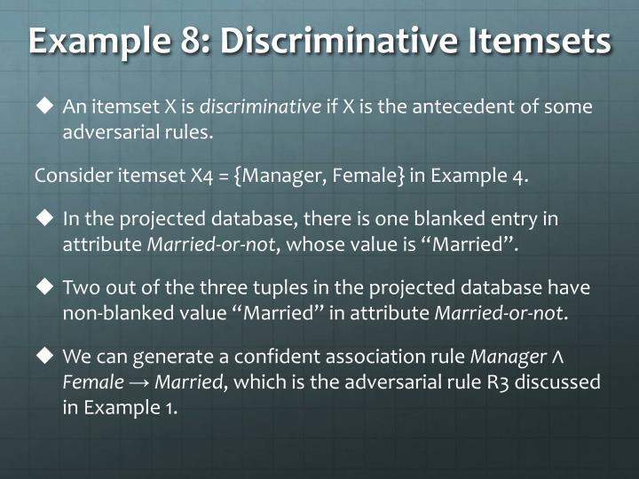 Example 8: Discriminative Itemsets