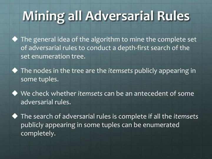 Mining all Adversarial Rules