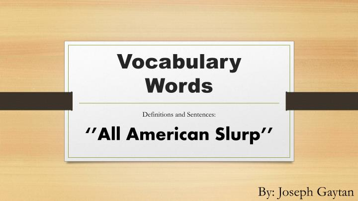 vocabulary words n.