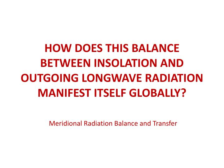 How does this balance between insolation and outgoing longwave radiation manifest itself globally