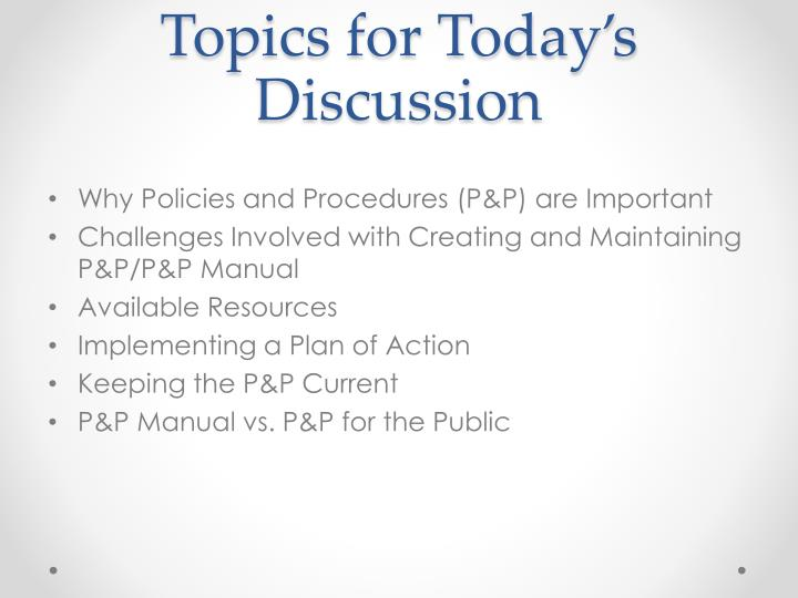 Topics for today s discussion