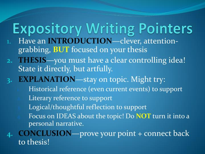 Expository writing pointers