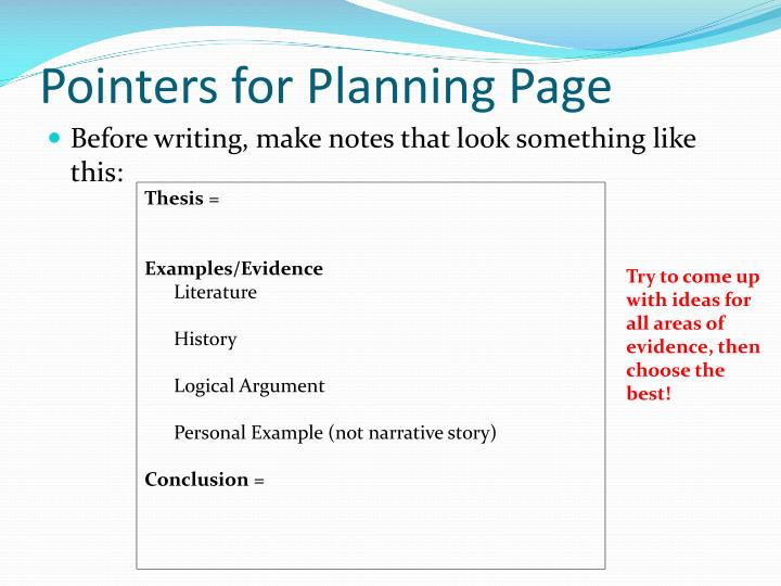 Pointers for planning page