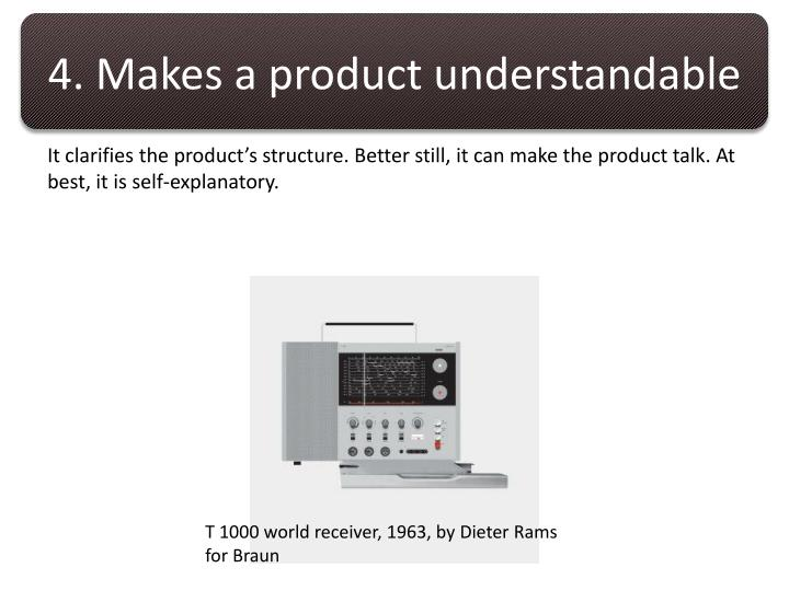 4. Makes a product understandable
