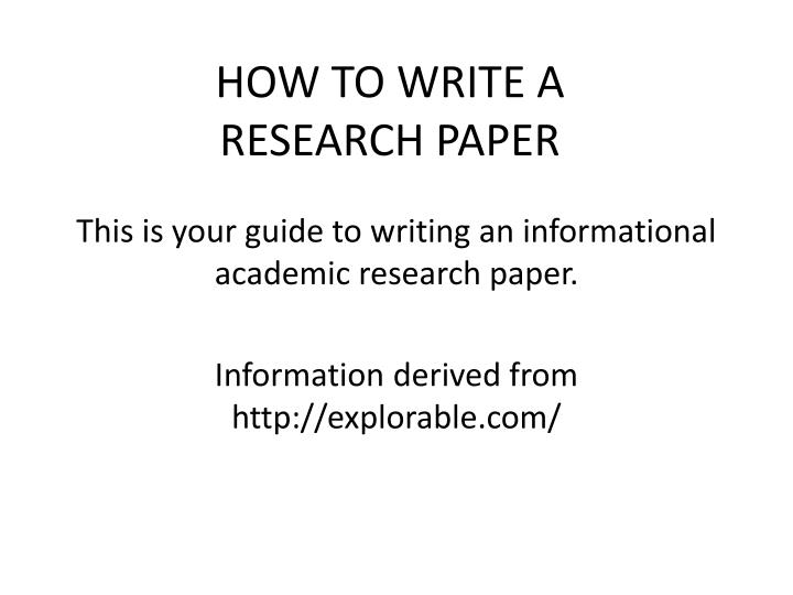 how to write a research paper in finance The research design paper identifies a problem, discusses literature written about the problem, describes the methodology used in the research project and its results and then summarizes the research results writing this paper is the last step in documenting a research project research varies by.