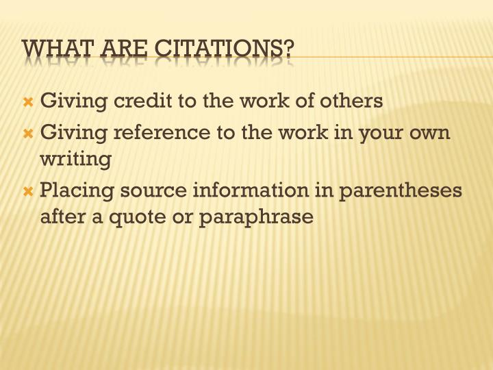 What are citations