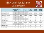 bsk offer for 2013 14 last season