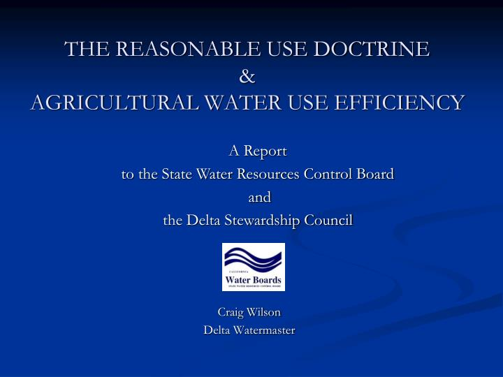 the reasonable use doctrine agricultural water use efficiency n.