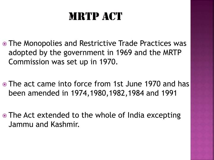 the mrtp act preamble and sections