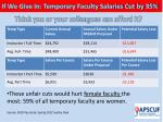 if we give in temporary faculty salaries cut by 35