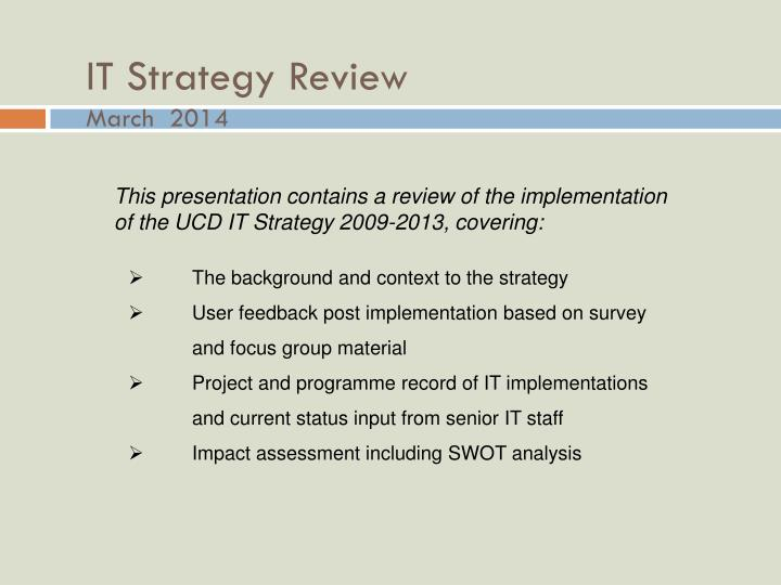 it strategy review march 2014 n.