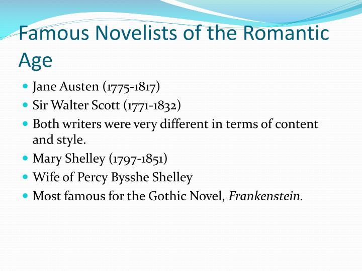 Famous Novelists of the Romantic Age