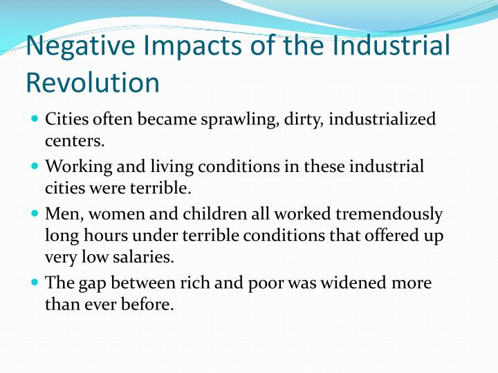 Negative Impacts of the Industrial Revolution