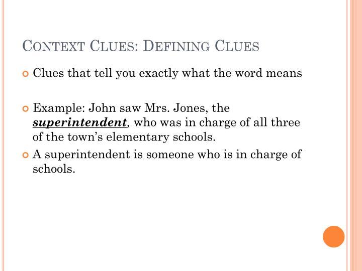 Context Clues: Defining Clues
