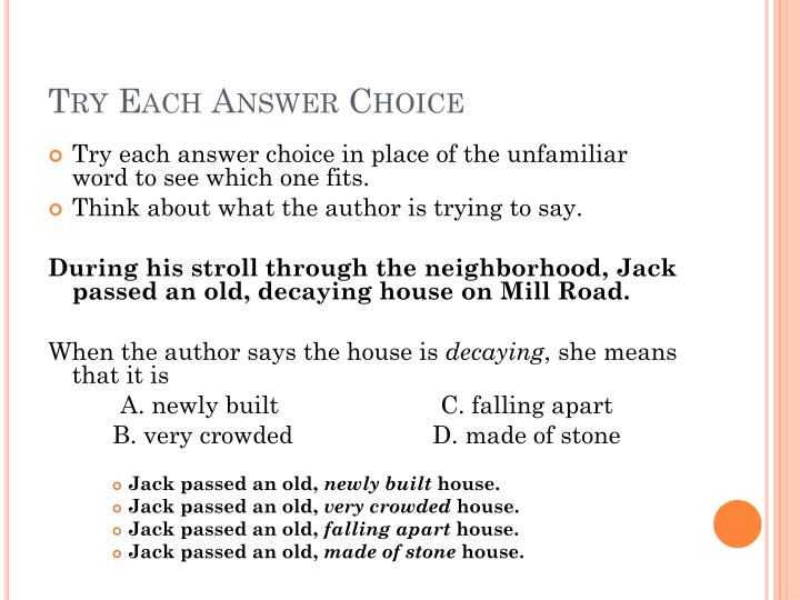 Try Each Answer Choice