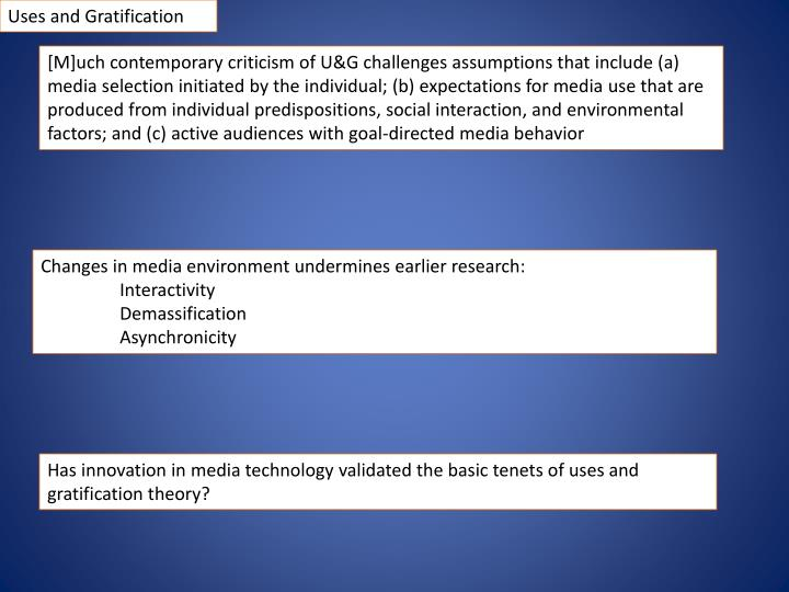uses and gratification research Elliott, p (1974) uses and gratifications research: a critique and a sociological alternative, in j g blumler and e katz (eds) the uses of mass communications: current perspectives on gratifications research.