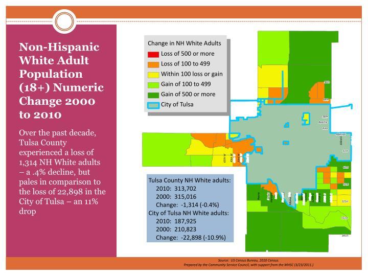 Non-Hispanic White Adult Population (18+) Numeric Change 2000 to 2010