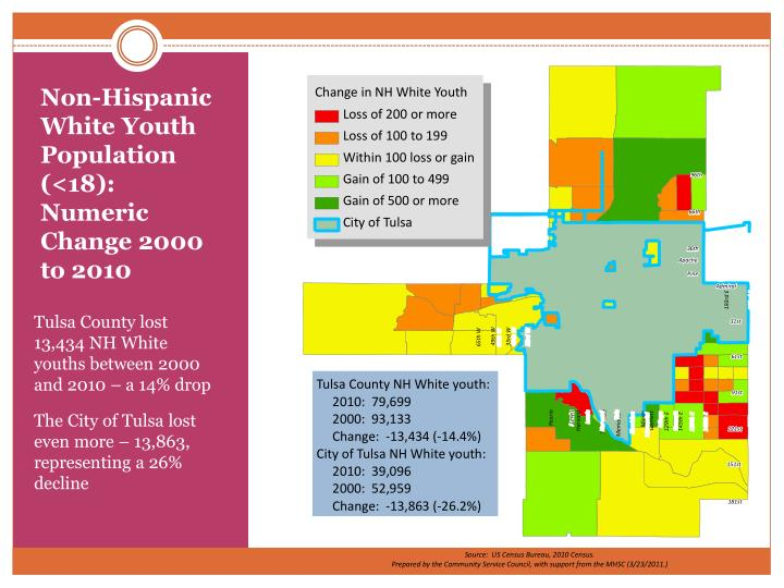 Non-Hispanic White Youth Population (<18): Numeric Change 2000 to 2010