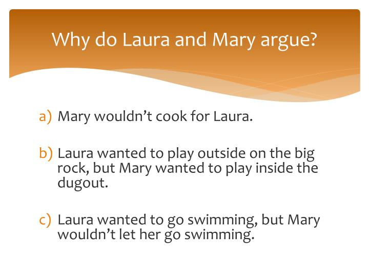Why do Laura and Mary argue?