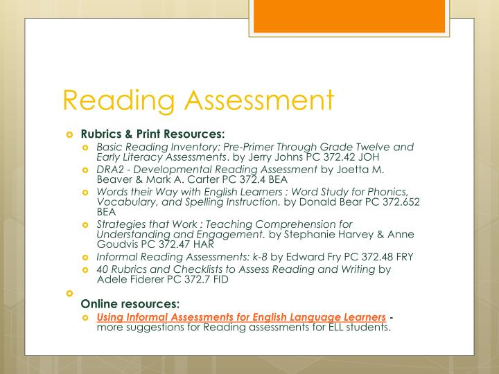 evaluating reading informally essay Evaluative reviews or evaluation essays are compositions that allow the writer a medium to convey the overall quality of a specific the overall objective of an evaluation essay is to provide validation for the quality (or lack of quality) for a particular specific item, product.