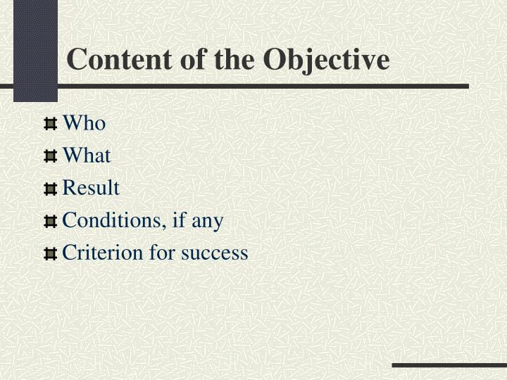 Content of the Objective