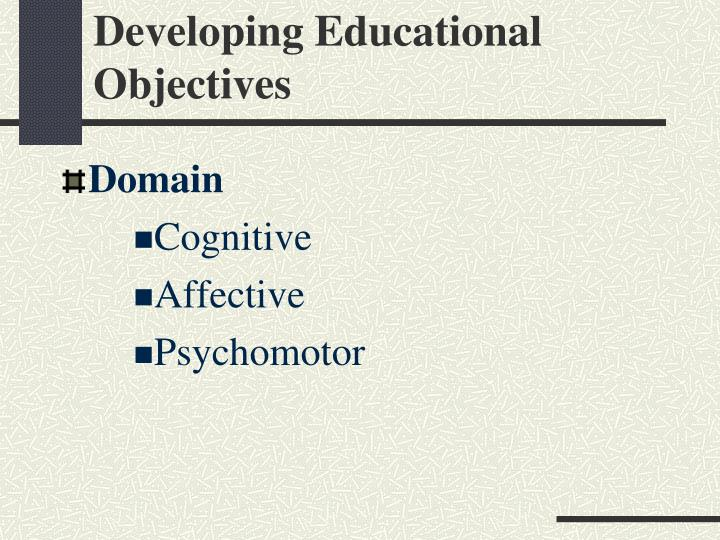Developing Educational Objectives