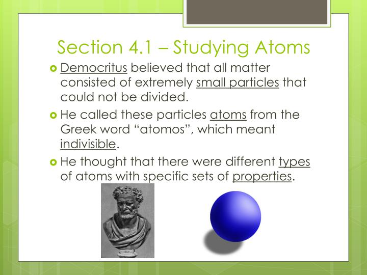 Section 4 1 studying atoms