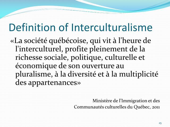 Definition of Interculturalisme