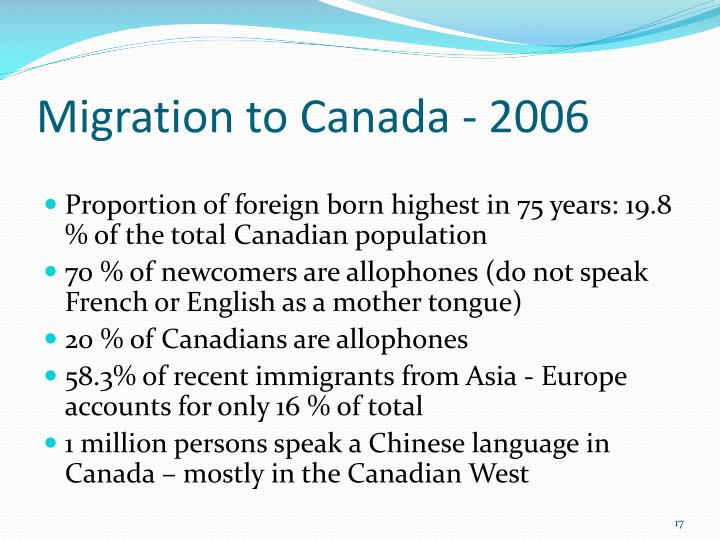 Migration to Canada - 2006