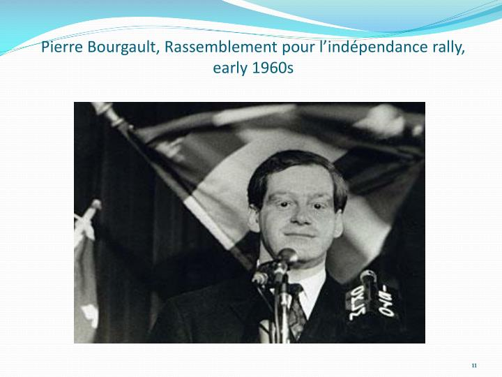 Pierre Bourgault, Rassemblement pour l'indépendance rally, early 1960s
