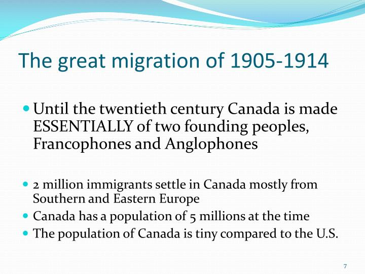 The great migration of 1905-1914