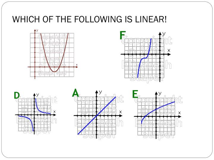 WHICH OF THE FOLLOWING IS LINEAR!