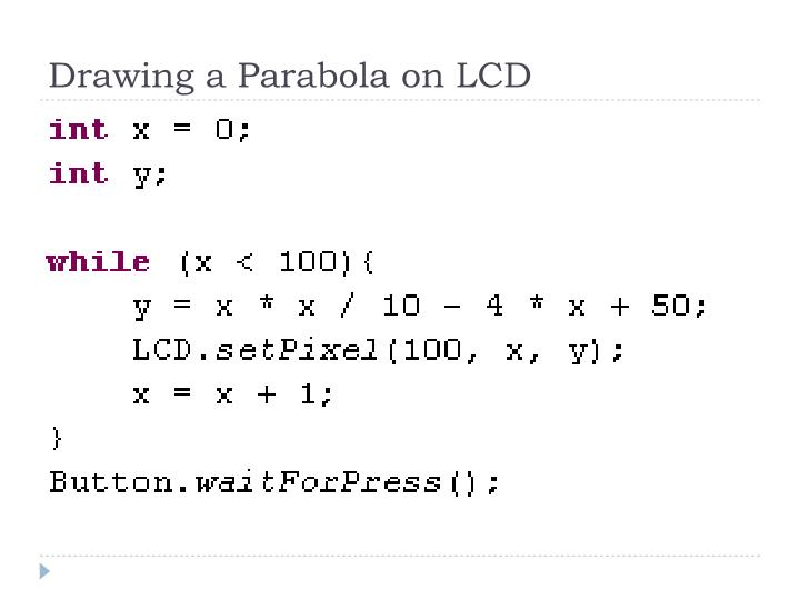 Drawing a Parabola on LCD