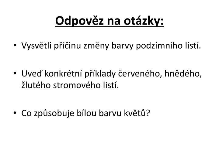 Odpověz na otázky: