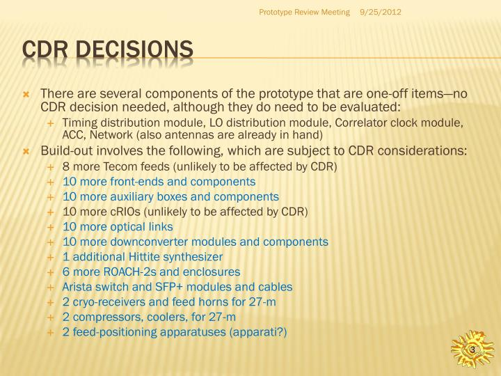 Cdr decisions