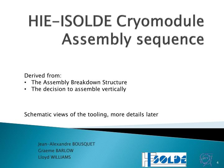 HIE-ISOLDE Cryomodule Assembly sequence