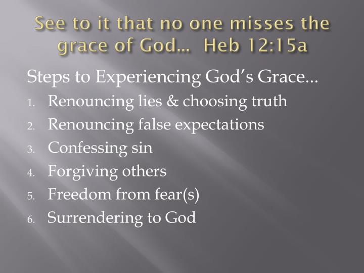 See to it that no one misses the grace of God...	Heb 12:15a
