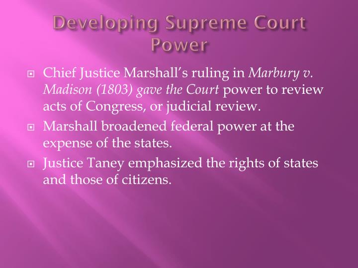 Developing Supreme Court Power