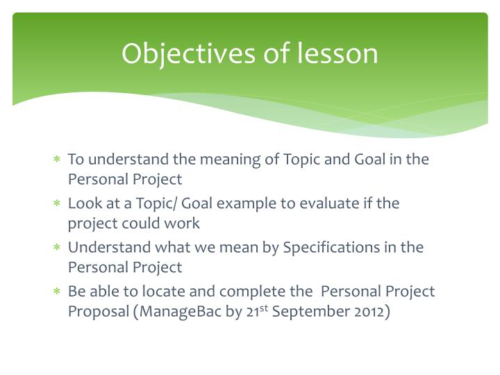 Ppt Session 2 The Personal Project Proposal Powerpoint