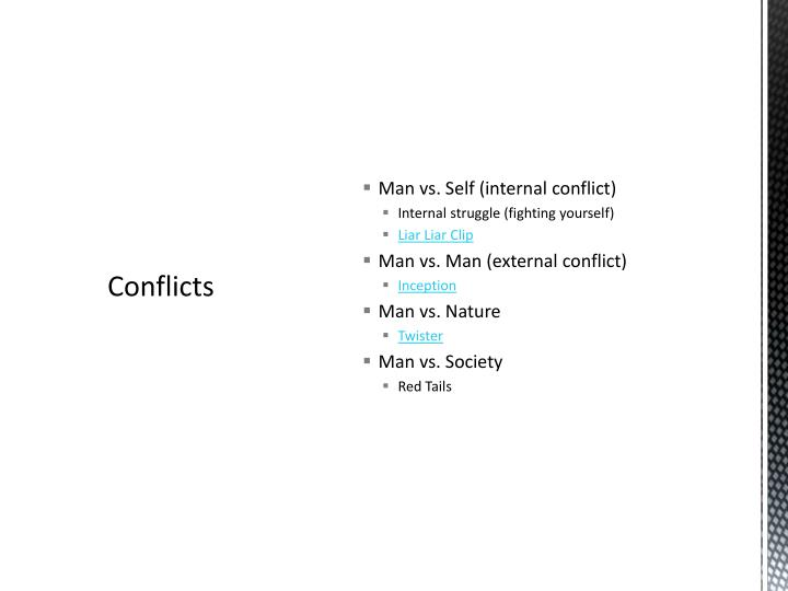 Man vs. Self (internal conflict)