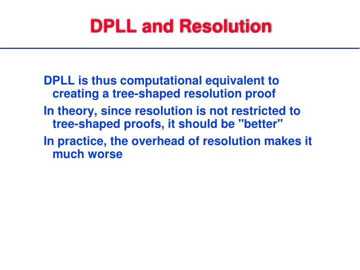 DPLL and Resolution