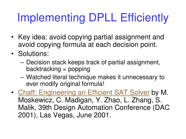 Implementing DPLL Efficiently