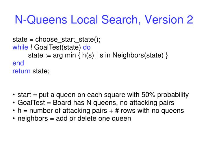 N-Queens Local Search, Version 2