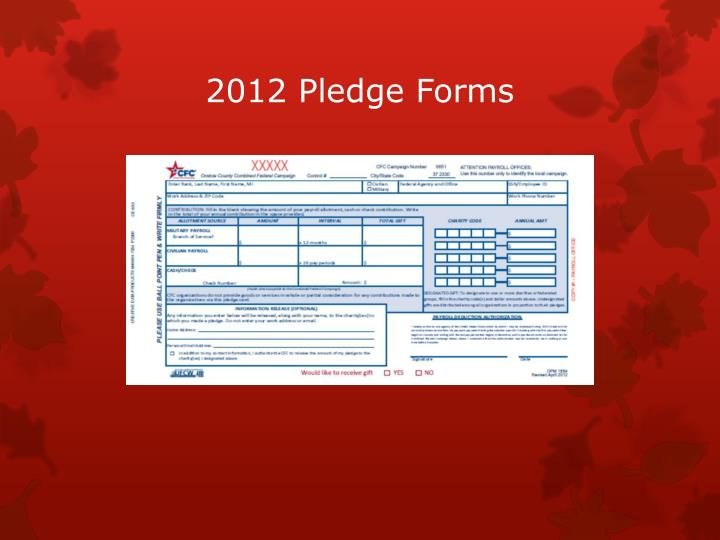 2012 Pledge Forms