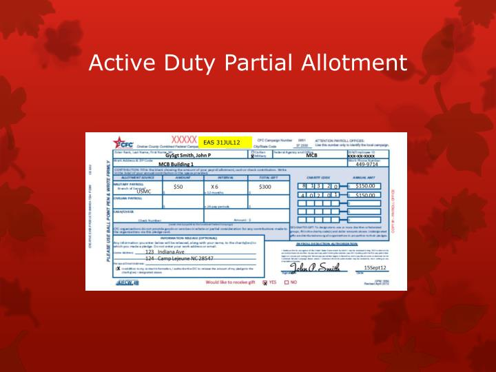 Active Duty Partial Allotment