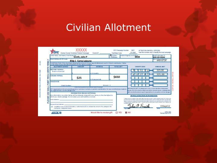 Civilian Allotment