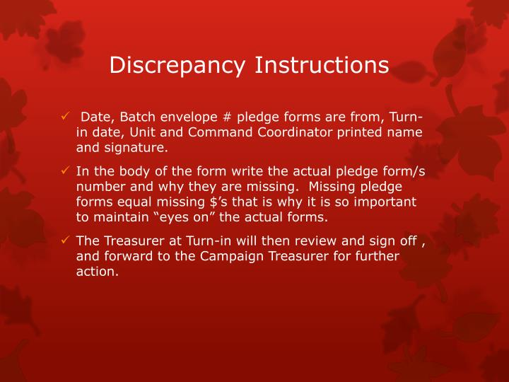 Discrepancy Instructions