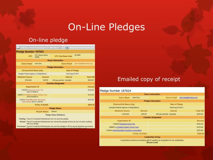 On-Line Pledges