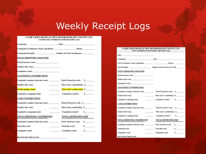Weekly Receipt Logs