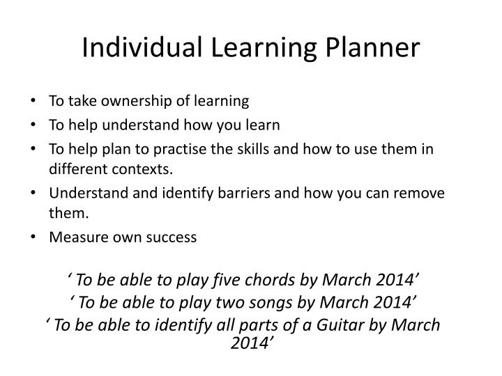 Individual learning planner